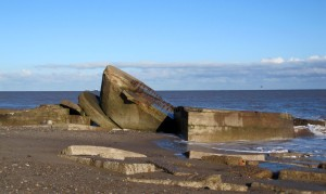 Ruins of WW1 Fort Godwin at Kilnsea, East Yorkshire